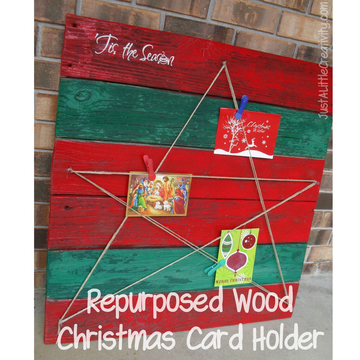 Repurposed wood christmas card holder diy just a