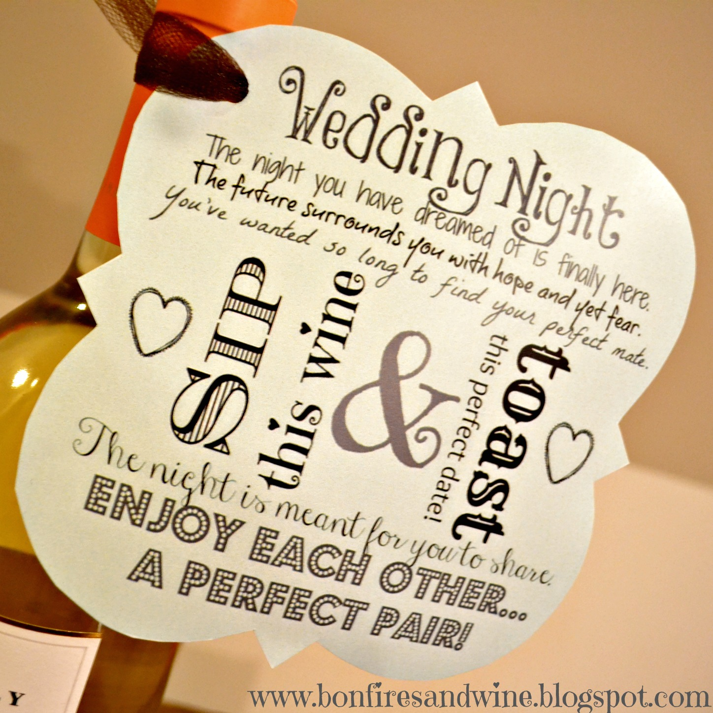 Bridal Shower Gift Thank You Sayings : Bonfires and Wine: DIY Wine Wedding Gift