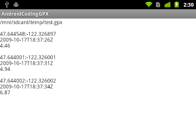 GPX decoding in Android, with time and ele.