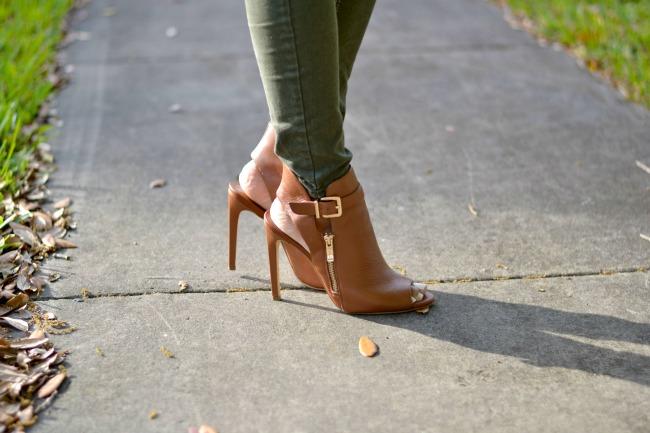 Cognac booties + Olive Skinny Jeans
