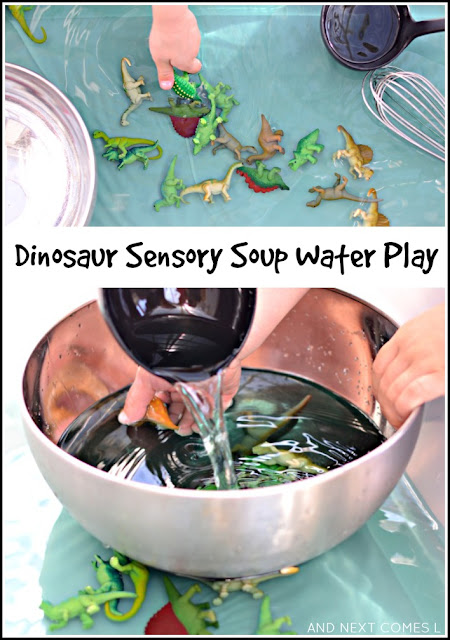 Dinosaur sensory soup water play activity for toddlers and preschoolers from And Next Comes L