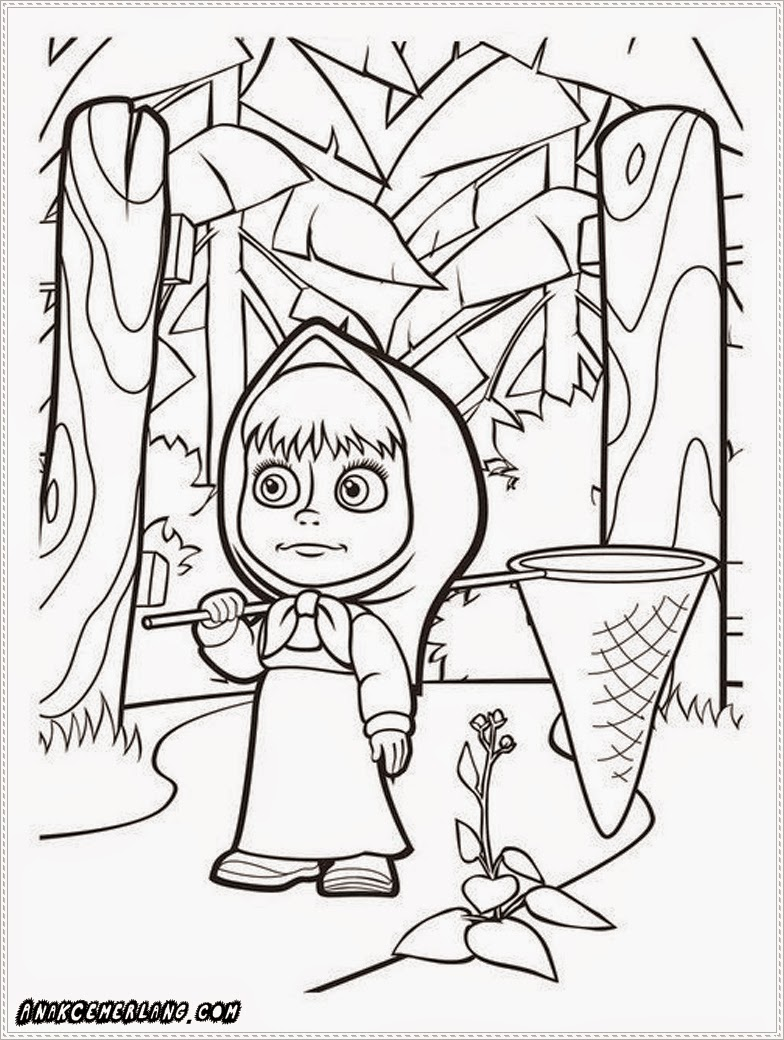 gambar sketsa masha and the bear