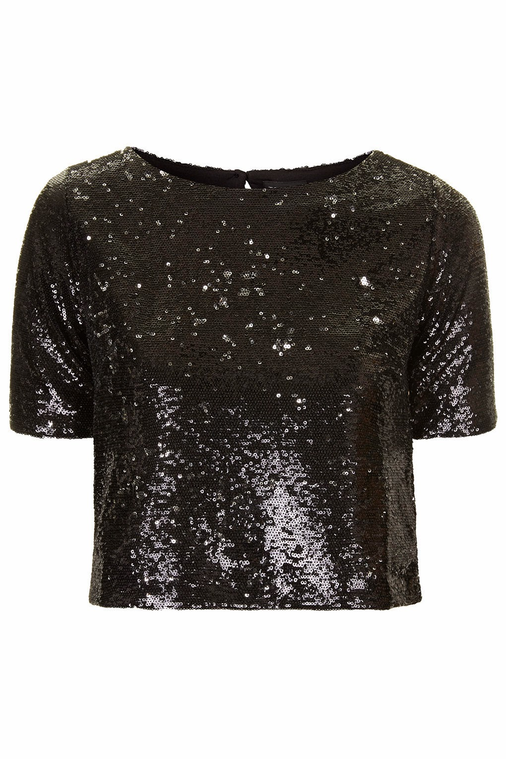 cropped black sequin top