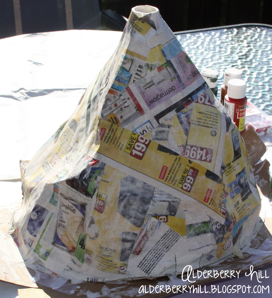 how to make a paper mache volcano for kids
