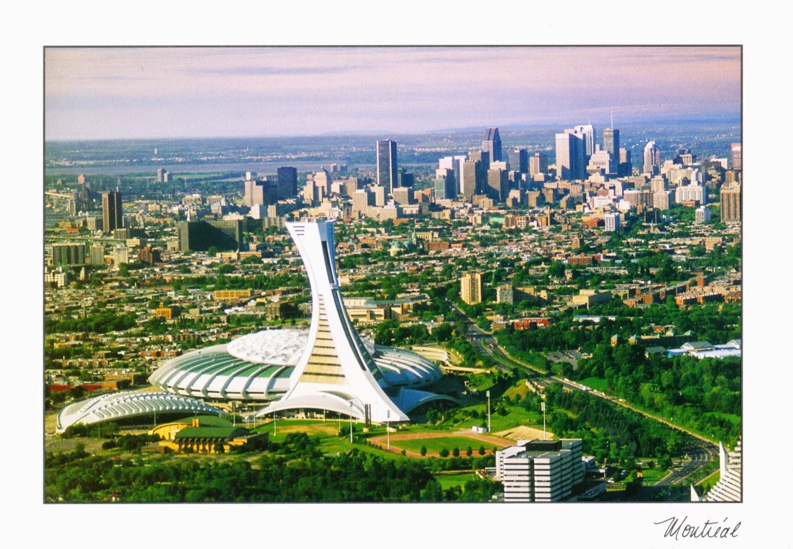 postcard, canada, montréal, olympic stadium