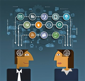 illustration of two people communicating with iconic images of communication platforms  floating above their heads.