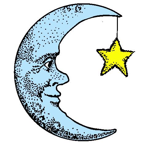 Dibujos Para Colorear. La Luna. Pictogramas A Color Y A Blanco Y Negro Para  El Aula De Infantil.