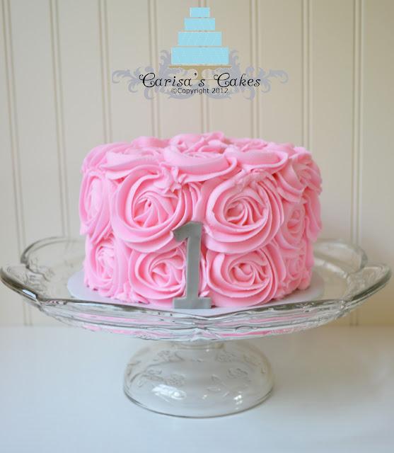 Carisa S Cakes Vintage Pink Rose Swirl Smash Cake