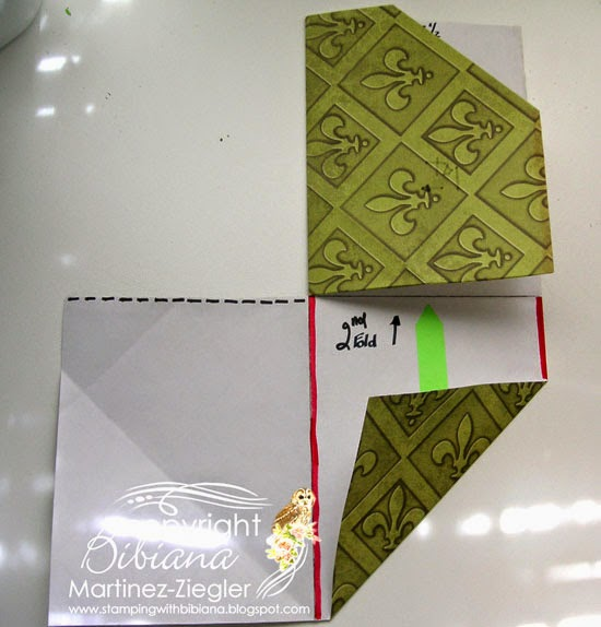 diagonal double pocket fold card step 2