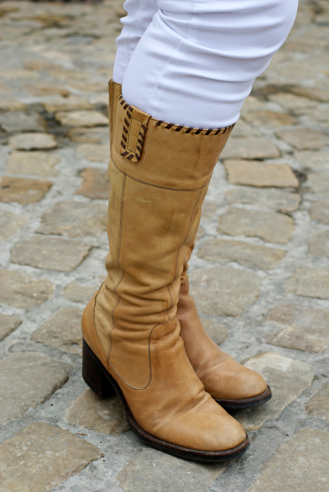 beige leather boots dark brown details