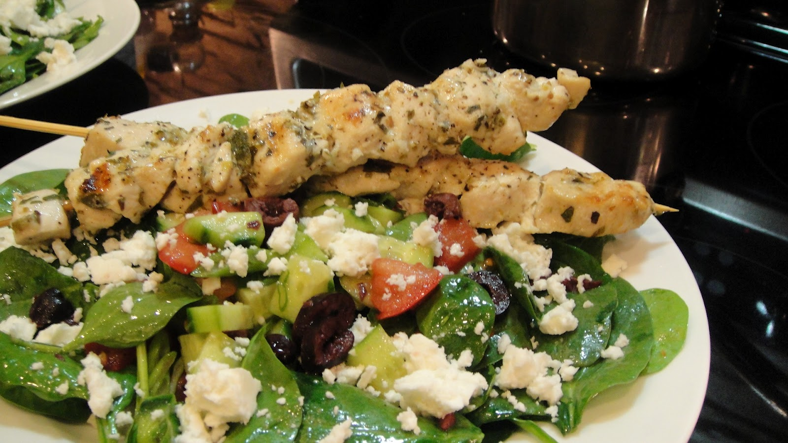 want to cook that: Chicken Souvlaki on Spinach Salad