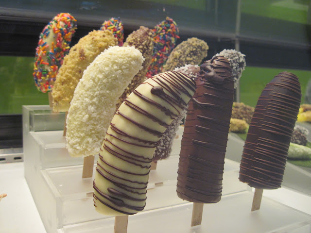 Other New York treats can't shake a stick at Forbidden Fruit's chocolate dipped bananas that are certainly New in New York