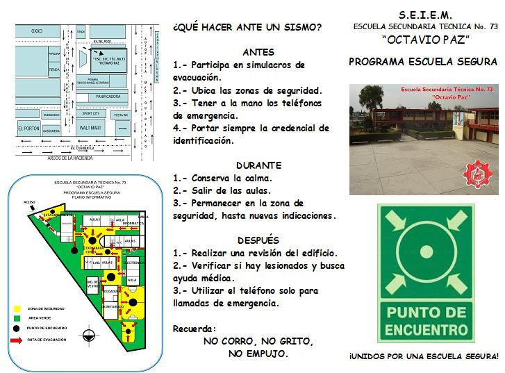 Est73octaviopaz programa escuela segura est 73 octavio paz for A que zona escolar pertenece mi escuela