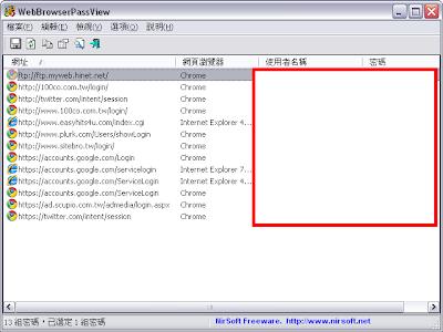 網頁瀏覽器帳號密碼檢視、恢復工具,WebBrowserPassView v1.43 繁體中文綠色免安裝版!