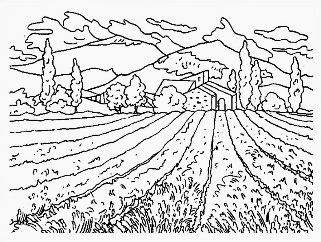 Free coloring pages of gunung