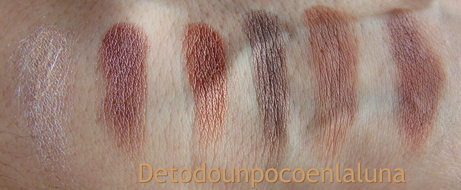 "swatches Paleta "" Naked Chocolate ""  de I heart Makeup"