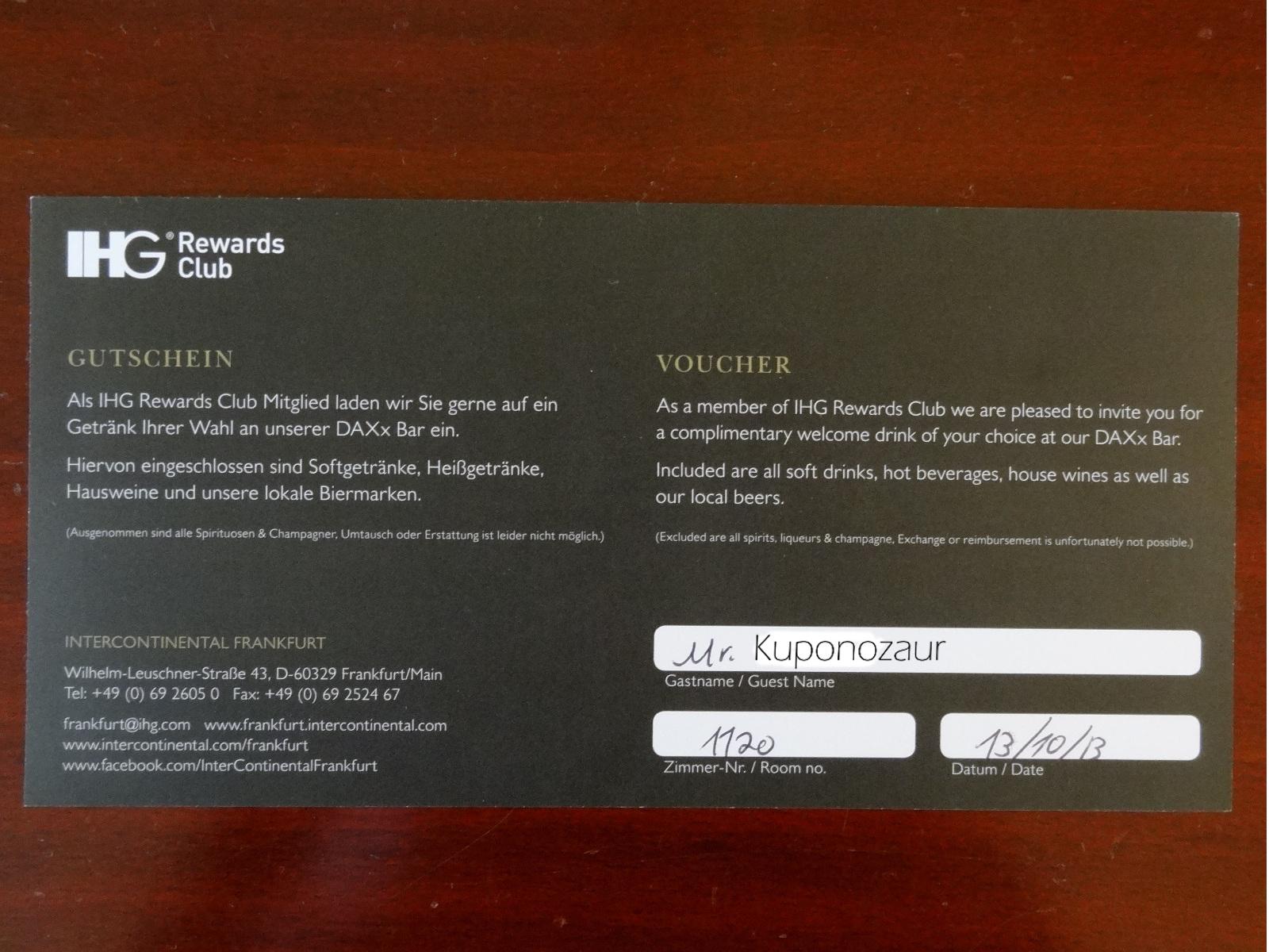 Hotel InterContinental Frankfurt voucher na darmowy drink powitalny
