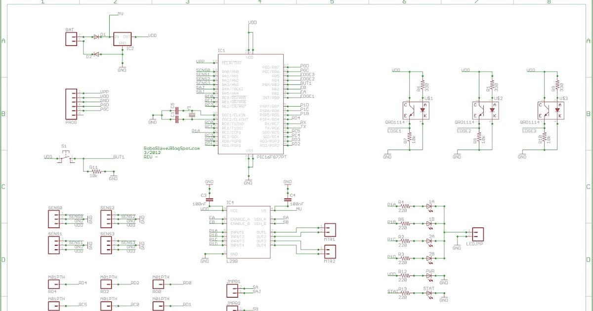 roboslave  sumo bot schematic and printed circuit board  pcb