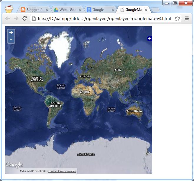 Membuat Web Peta OpenLayers untuk Menampilkan GoogleMap