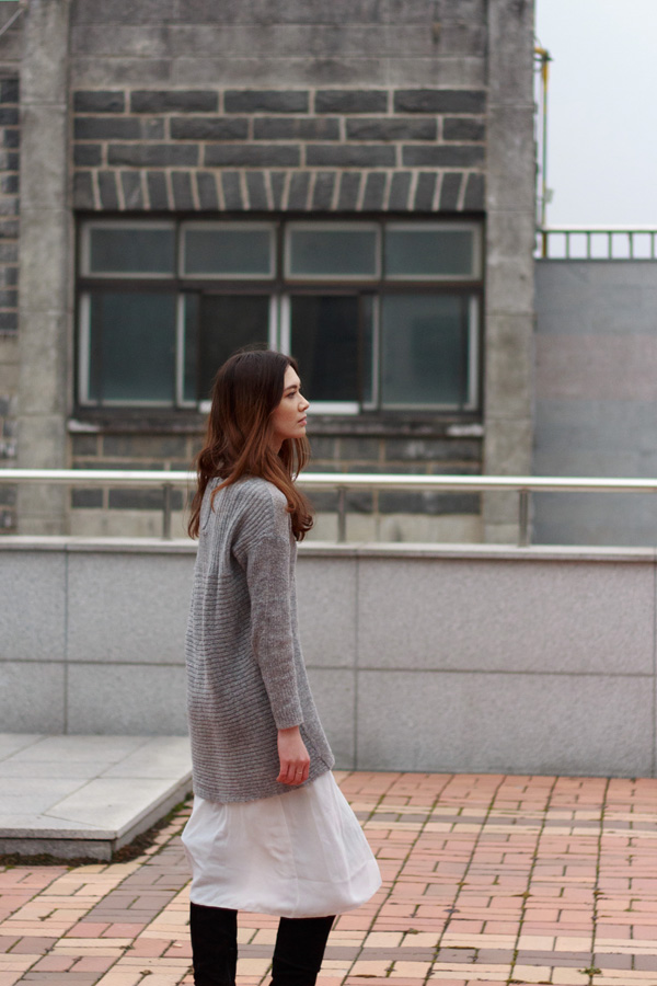 only sweater, asos, layering tips, over the knee boots, grey knit, winter fashion, korean style