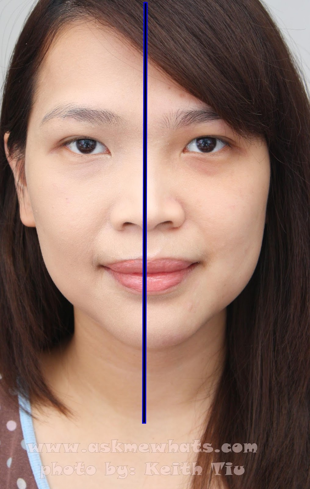 Before and after photo using Etude House Precious Mineral BB Cream Bright Fit