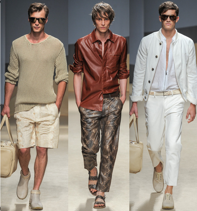 trussardi mens spring 2014 leather shirts and shorts