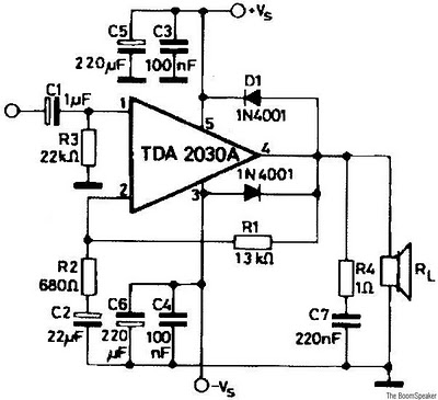 8watt Audio  lifier Tda2030 Circuit on wiring diagram for amp and speakers