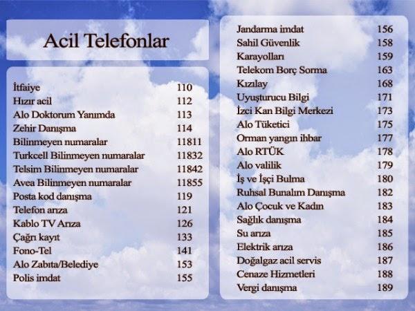Acil Servis Numaraları Acil Telefon Numaraları