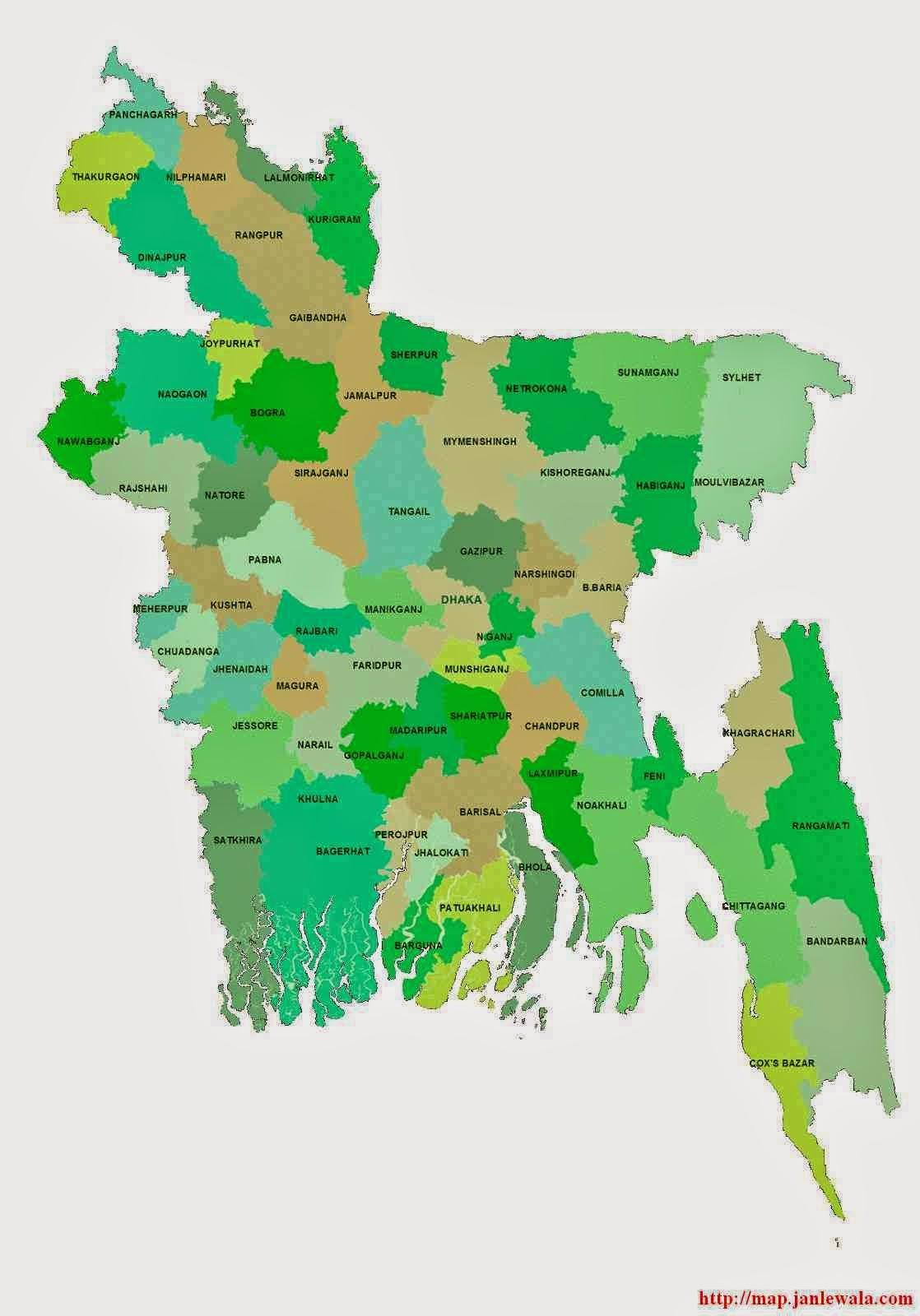 Districts Outline Map Of Bangladesh - Bangladesh map