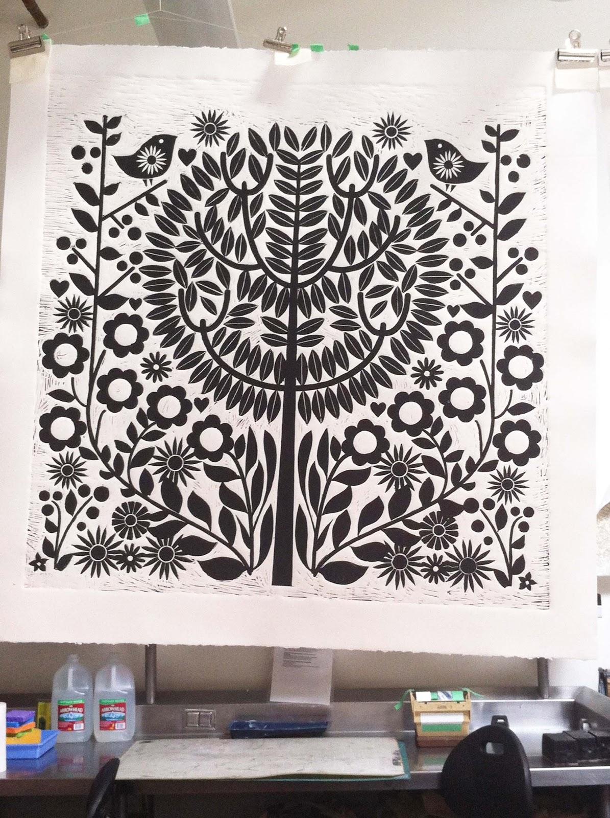 Dutch door press the making of a giant linoleum block print