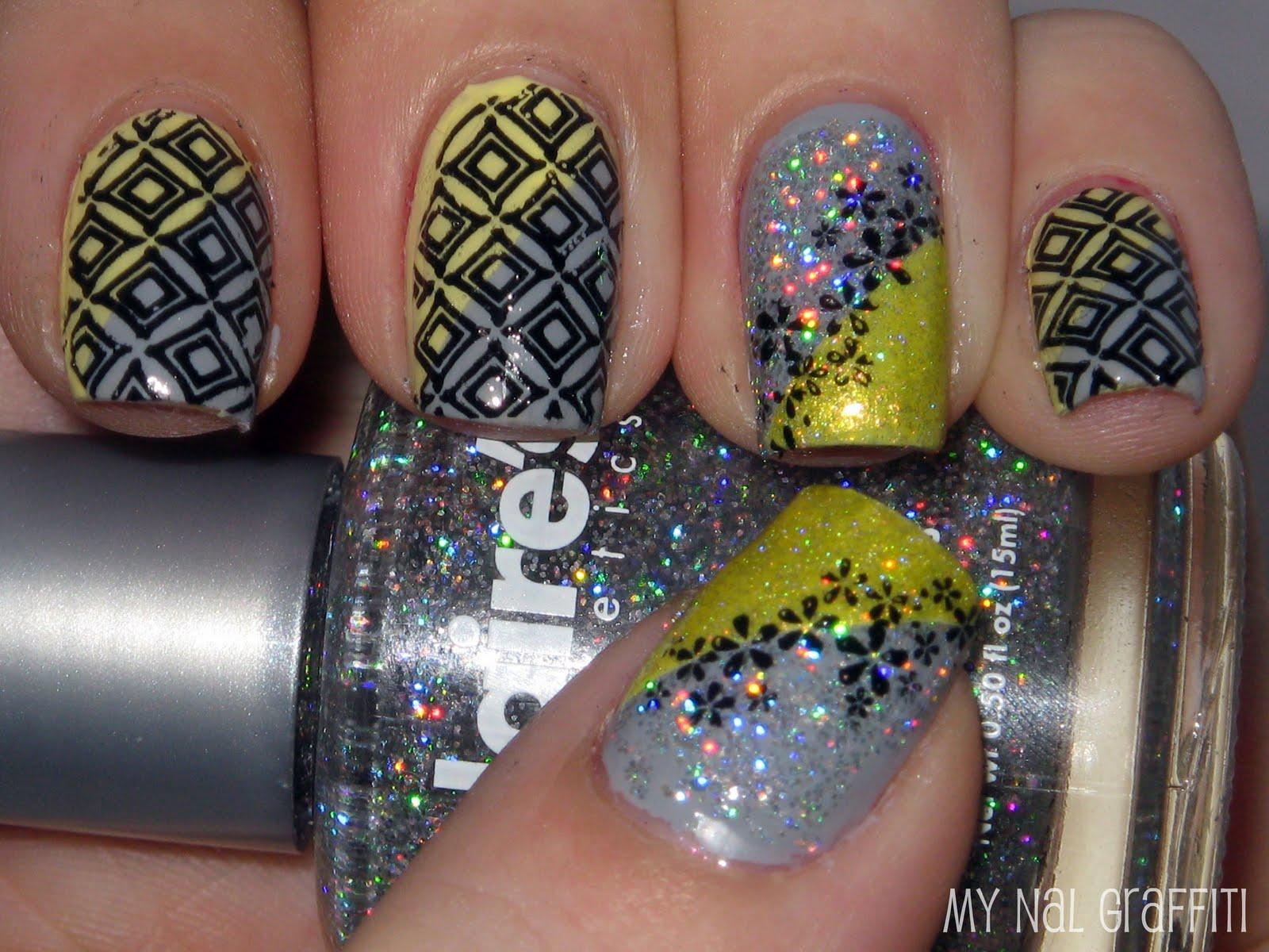 Синий Дизайн ногтей с декоративными лентами 143