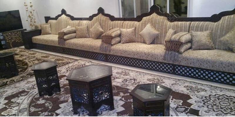 Salon Marocain Beige En Motif | Salon Marocain