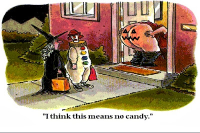 Funny Halloween cartoon picture - I think this means no candy - Witch and clown children denied candy by bum pumpkin neighbour