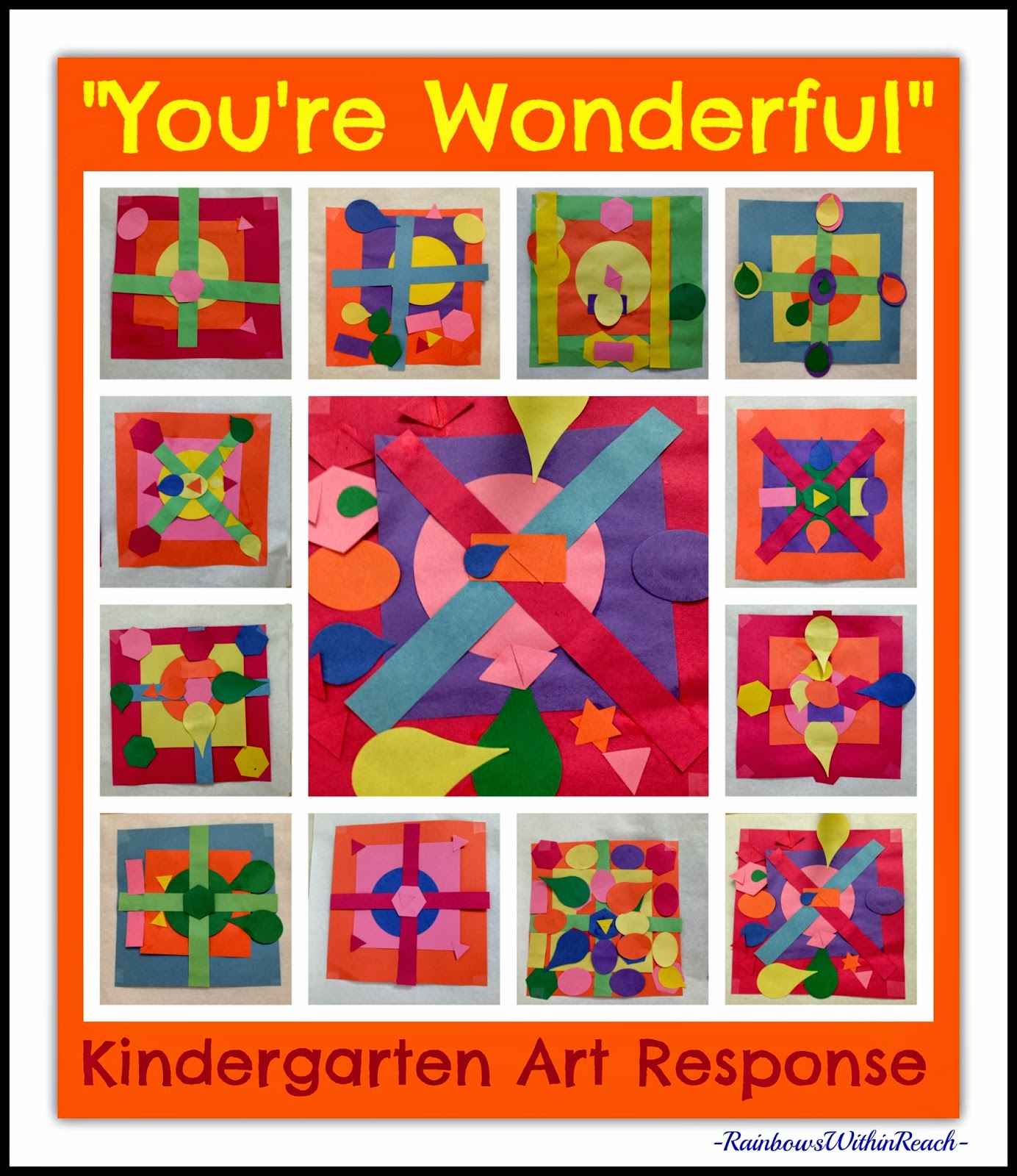 "Kindergarten Construction Paper Quilt Squares in Response to ""You're Wonderful"" by Debbie Clement"