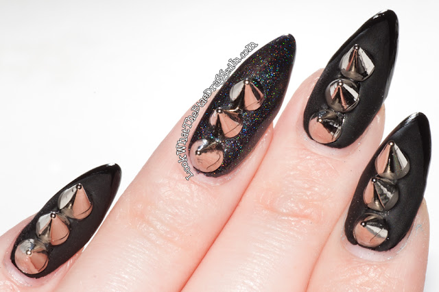Pretty and Polished goth spiked matte nails