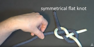 Carrick bend demonstrating symmetrical flat knot