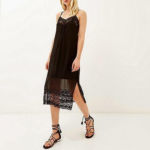 black strap dress sheer, river island black midi dress,