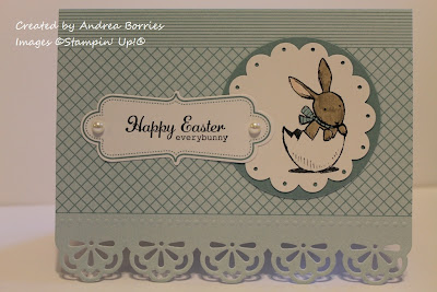 "Everyday Elegance Simply Sent card base with image of a bunny in an egg shell and the sentiment ""Happy Easter everybunny."""