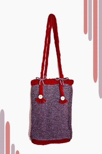 Bolso París de lana con agujas de punto. Patrón gratis de iPunts: agujas y ganchillo.