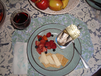 Simple Dinner - Sardines with Crackers, cheese, berries, and Red wine