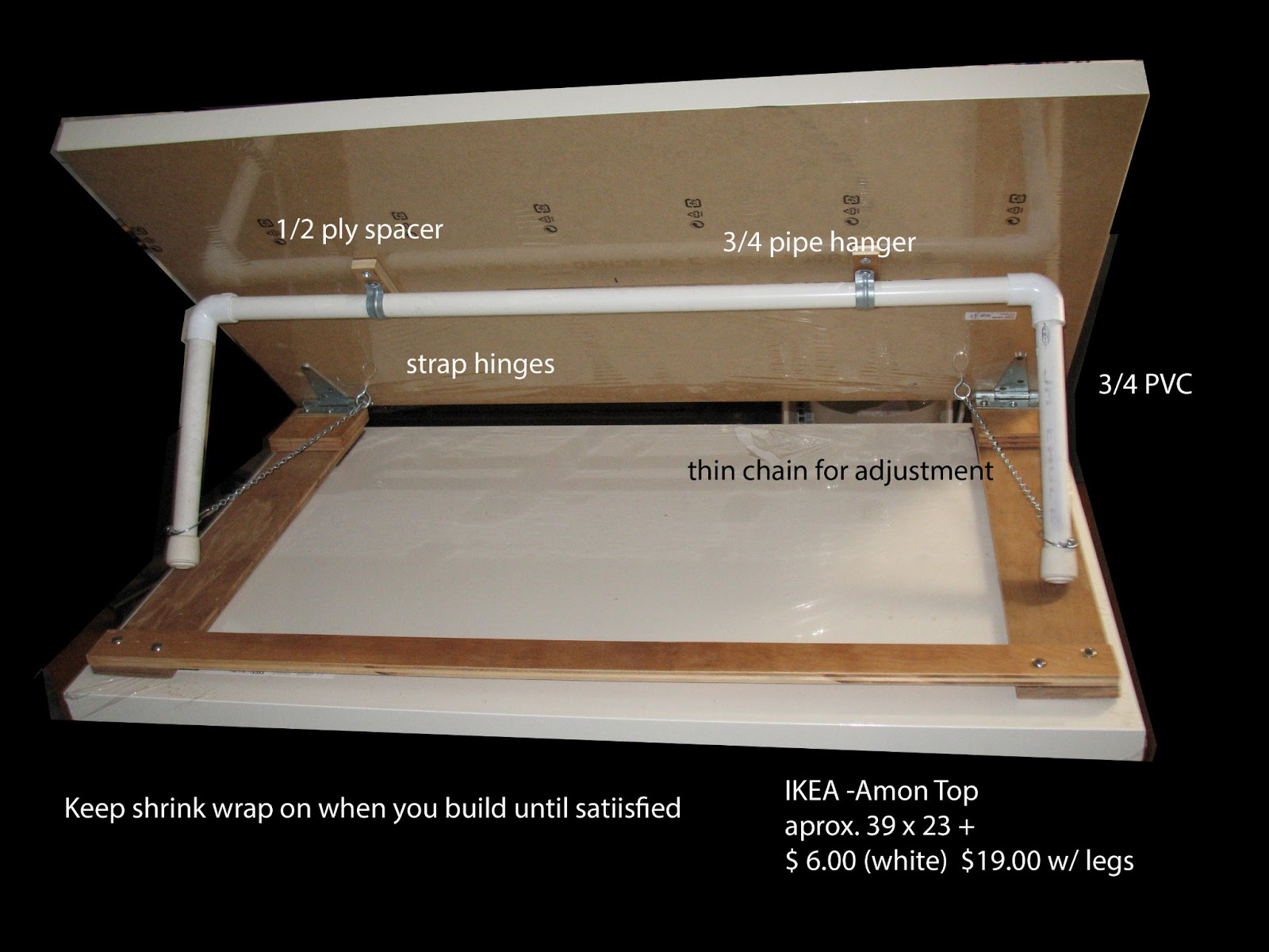 Diy drafting table pdf woodworking for Ikea drafting table with lightbox
