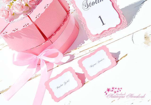 Papierowy tort, Winietki, Motyle na kieliszki, Numery stołów, Obręcz (pierścień) na serwetki