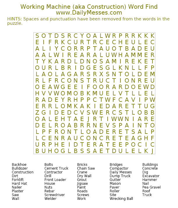 Daily Messes Construction Word Find