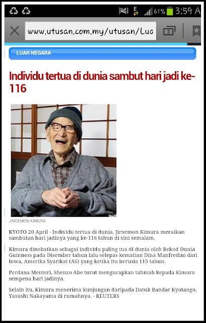 Jiroemon Kimura, lelaki tertua di dunia sambut harijadi ke-116, individu tertua di dunia terkini, Dina Manfredini,