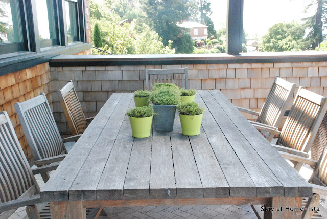 Teak dining table and chairs for outdoor dining, perfect with the natural green accents