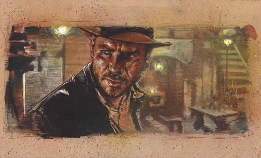 Harrison Ford as Indiana Jones, Artwork is Copyright © 2014 Jeff Lafferty