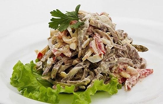 рецепт салат царский с языком картошкой черносливом яйцами