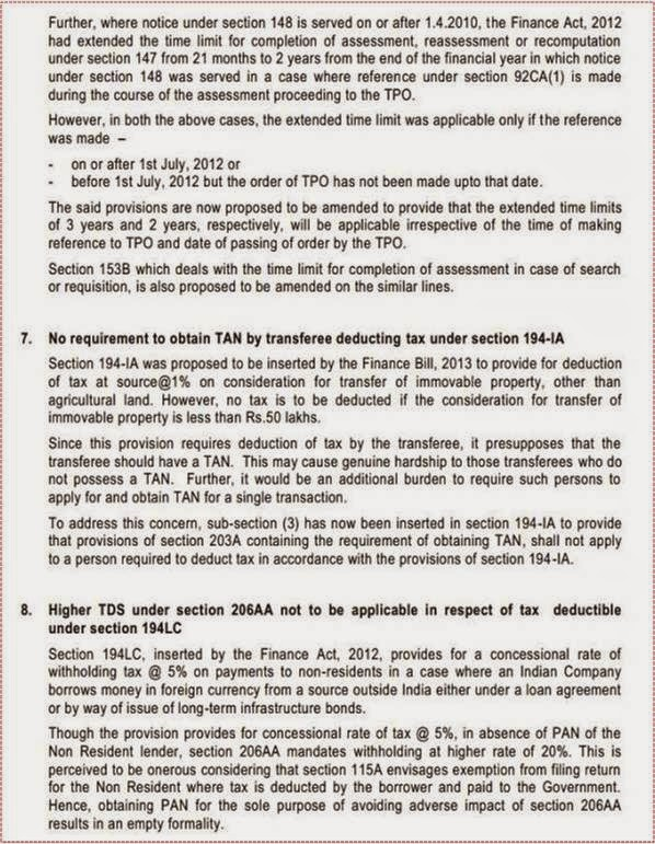 Highlights of Notice of amendments to Finance Bill, 2013 as passed by Lok Sabha