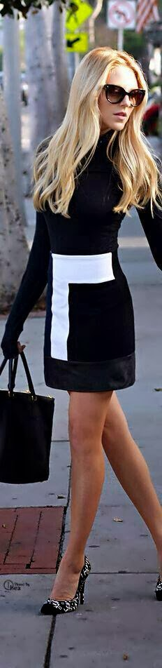 Stylish Black & White Mini Dress and Suitable Handbag with Highs Hell Shoes - Street Style