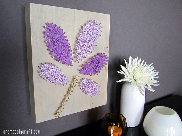 Diy wall art from yarn nails for Art and craft for wall decoration